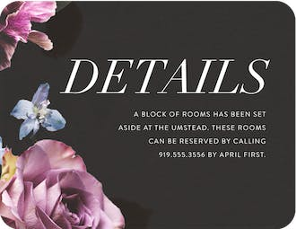 Midnight Floral Direction Card