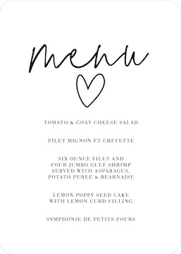 So In Love Menu