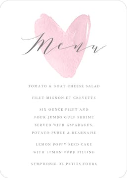 Watercolor Heart Menu