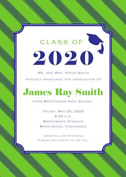 Blue Frame on Green Diagonal Stripes Invitation
