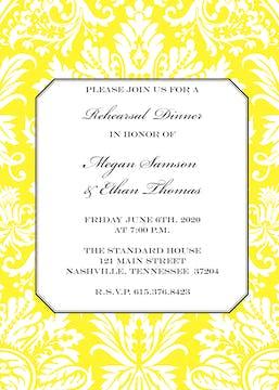 Yellow Damask Invitation