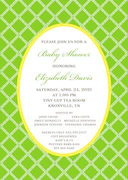 Leaf Lattice Green Invitation