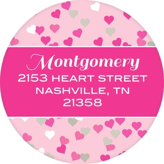 Pink Confetti Hearts Round Address Label