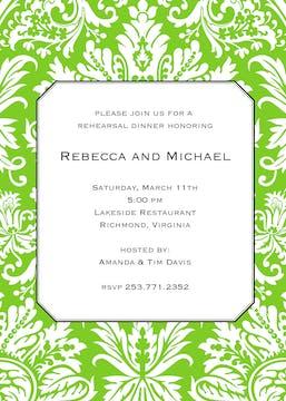 Green Damask Invitation