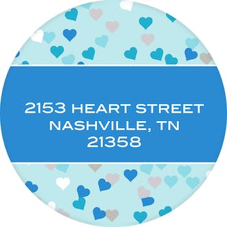 Blue Confetti Hearts Round Address Label