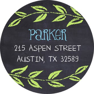 Sweet Blue Chalkboard Round Address Label