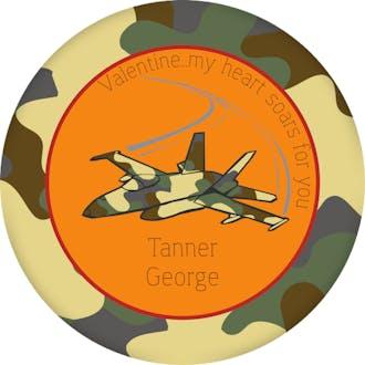 Valentine's Camouflage Airplane Gift Sticker