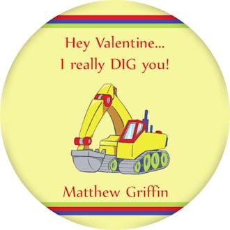 Valentine's Excavator Gift Sticker