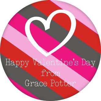 Valentine's Fun Stripes Heart Gift Sticker