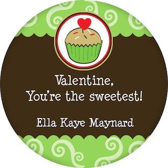 Valentine's Cupcake Gift Sticker