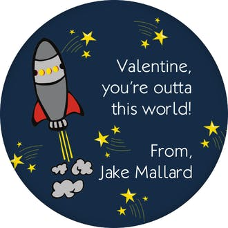 Valentine's Rocket Ship Gift Sticker