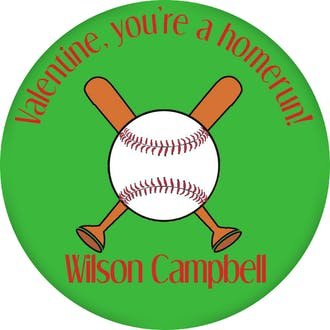 Valentine's Baseball Gift Sticker