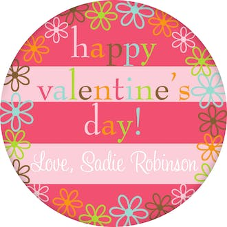 Valentine's Flower Border Gift Sticker