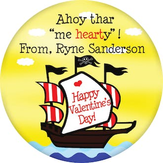 Valentine's Pirate Ship Gift Sticker