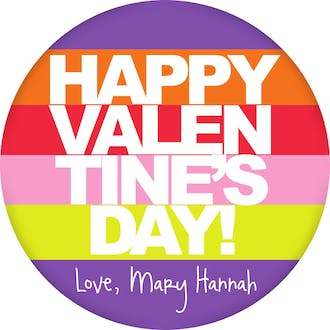 Valentine's Bold Stripes Gift Sticker