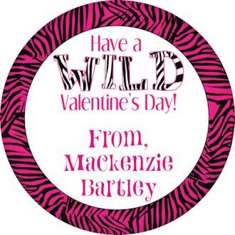 Valentine's Zebra Gift Sticker