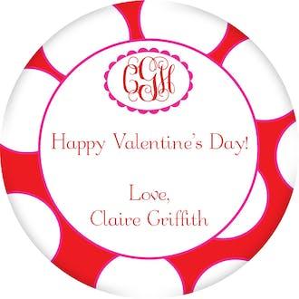 Valentine's Polka Dot Gift Sticker