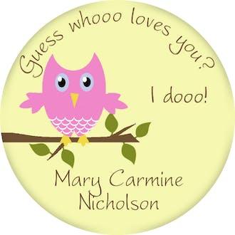 Valentine's Owl Gift Sticker
