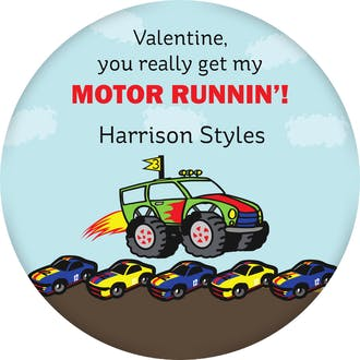 Valentine's Monster Truck Gift Sticker
