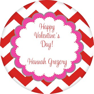 Valentine's Chevron Gift Sticker
