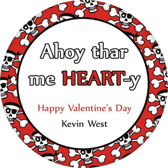 Valentine's Skull and Crossbones Gift Sticker