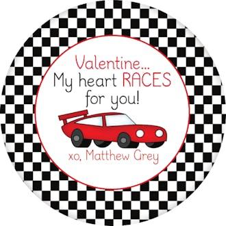 Valentine's Racecar Gift Sticker
