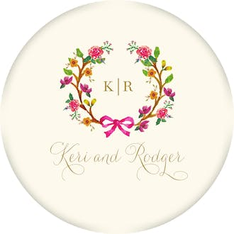 Flowery Wreath Circle Gift Sticker