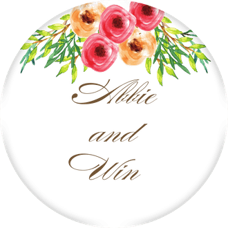 Watercolor Florals Circle Gift Sticker