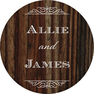 Cherry Wood Circle Gift Sticker