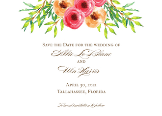 Watercolor Florals Save The Date Card
