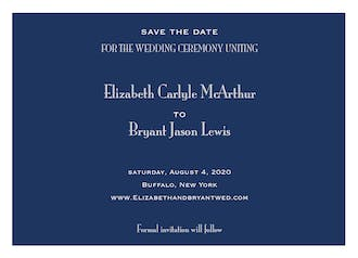 Navy Svelte Save The Date Card