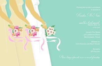 Bride and Bridesmaids on Aqua Invitation