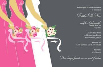 Bride and Bridesmaids on Grey Invitation