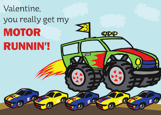 Monster Truck Valentine Cards