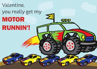 Monster Truck Valentine Cards