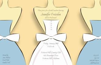 Bride and Bridesmaids on Apricot Invitation