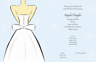 Wedding Dress on Soft Blue Invitation