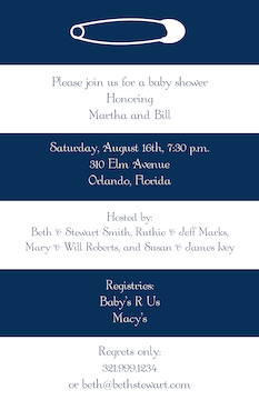 Bold Striped Diaper Pin Invitation