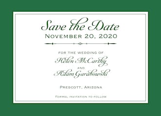 Simply Sophisticated Green Save The Date Card