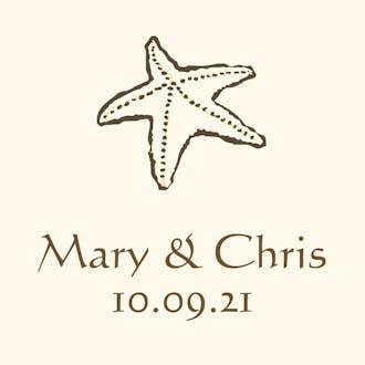 Brown starfish gift sticker on IVORY