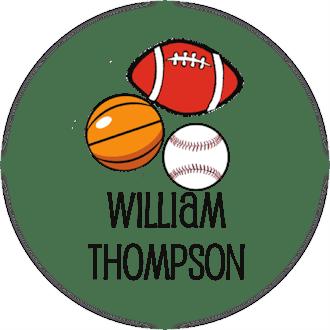 Sports Balls Round Water-Resistant Label