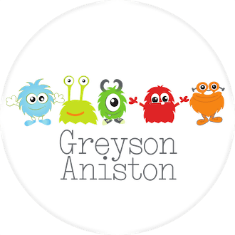 Cute Monster Round Water-Resistant Label