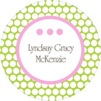 Pink and Green Dots Circular Water-resistant Label