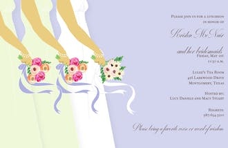 Bride and Bridesmaids on Periwinkle Invitation