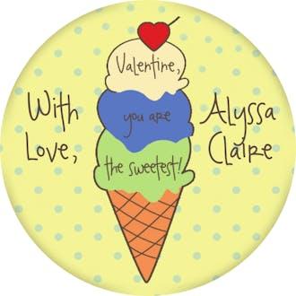 Valentine's Ice Cream Cone Gift Sticker