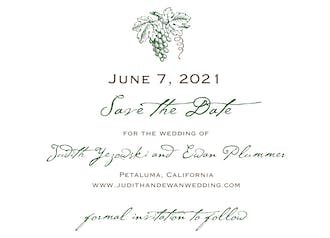 In the Vineyard Save The Date Card