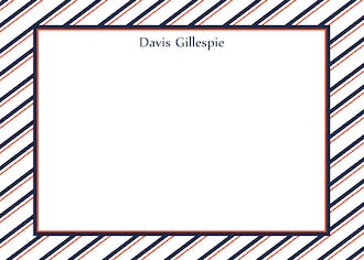 Navy and Orange Striped Border Notecard