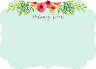 Watercolor Floral Flat Note