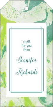 Shades Of Green Marbled Hanging Gift Tag