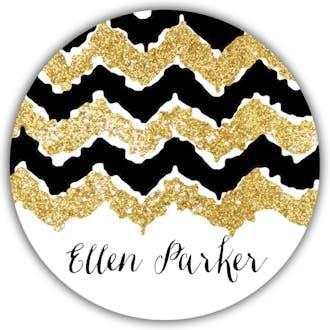 Gold Glittery Round Gift Sticker